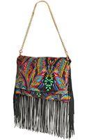 Just Cavalli Fringed Printed Velvet Shoulder Bag - Lyst