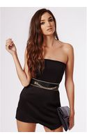Missguided Eileen Scuba Asymmetric Bandeau Playsuit Black - Lyst