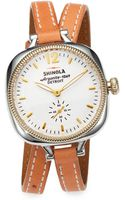 Shinola Golmesky Twotone Stainless Steel Leather Doublewrap Watch - Lyst