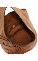 Tory Burch All T Pebbled Leather Hobo Bag Bark - Lyst
