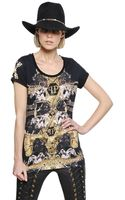 Philipp Plein Embellished Printed Cotton Tshirt - Lyst