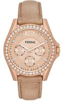Fossil Womens Riley Tan Leather Strap 38mm - Lyst