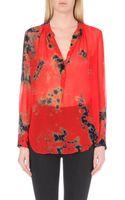 Raquel Allegra Floral-print Silk Blouse - Lyst