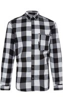 McQ by Alexander McQueen Black and White Check Raw Pocket Shirt - Lyst