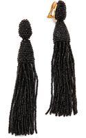 Oscar de la Renta Classic Long Tassel Earrings - Black - Lyst