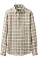 Uniqlo Women Premium Linen Check Long Sleeve Shirt - Lyst