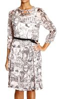 Frankie Morello Dress Long Sleeve Print with Plisset - Lyst