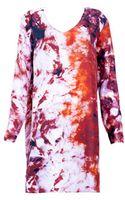 Cristina Sabaiduc Crimson Print Tunic Dress - Lyst