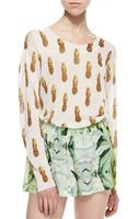 Townsen Pine Apple Print Slub Knit Cropped Sweater Bronze Wht Ptrn Large - Lyst