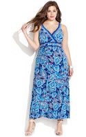 Inc International Concepts Plus Size Embellished Sleeveless Printed Maxi Dress - Lyst