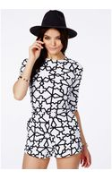 Missguided Bipasha Monochrome Print Playsuit - Lyst