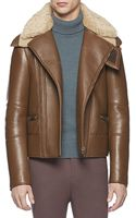 Gucci Leather Jacket with Shearling Collar - Lyst