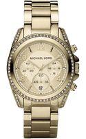 Michael Kors Blair Paveacute Crystal  Goldtone Stainless Steel Chronograph Bracelet Watch - Lyst