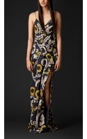 Burberry Floorlength Vine Print Silk Chiffon Dress - Lyst