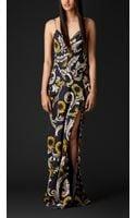 Burberry Floorlength Vine Print Silk Chiffon Dress - Lyst