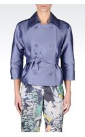 Emporio Armani Doublebreasted Jacket with Belted Waist - Lyst