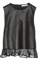 Elizabeth And James Tierney Paneled Leather and Silk-organza Top - Lyst