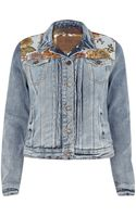 River Island Light Wash Tapestry Panel Denim Jacket - Lyst