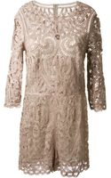 Sea Taupe Cotton Lace Playsuit - Lyst
