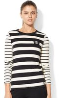 Lauren by Ralph Lauren Striped Emblem Tee - Lyst