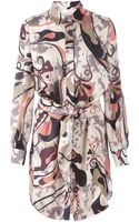 Emilio Pucci Abstract Print Shirt Dress - Lyst