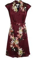 Erdem Floral Print Silk Dress with Belt - Lyst