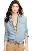 Polo Ralph Lauren Relaxed Eagle Chambray Shirt - Lyst