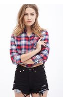 Forever 21 Boxy Plaid Flannel Top - Lyst