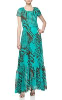 Dress The Population Short Sleeve Printed Georgette Maxi Dress - Lyst