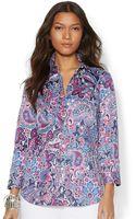 Lauren by Ralph Lauren Petite Three Quarter Sleeve Paisley Print Sateen Shirt - Lyst