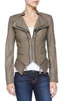 Dl2 By Dawn Levy Jenna Peplum Zip-off Leather Jacket - Lyst