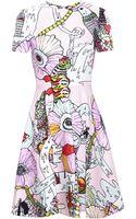 Mary Katrantzou Printed Dress with Flared Skirt - Lyst