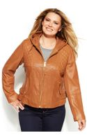 Michael Kors Michael Plus Size Knitinset Hooded Leather Jacket - Lyst