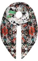 Roberto Cavalli Floral and Lace Panelled Scarf - Lyst