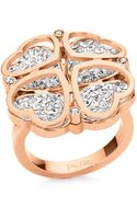 Folli Follie Heart4heart Rose Goldplated Heartclover Ring - Lyst