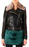 Acne Studios Shearlingcollar Moto Jacket - Lyst