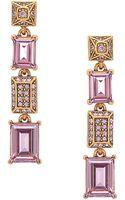 Oscar de la Renta Gold Tone and Lilac Swarovski Crystal Linear Drop Earrings - Lyst
