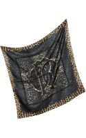 Roberto Cavalli Lace and Animal Print Silk Square Scarf - Lyst
