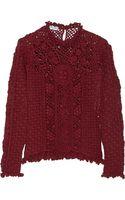 Oscar de la Renta Openknit Cashmere Sweater - Lyst