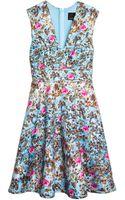 Cynthia Rowley Bonded Squared V-neck Party Dress - Lyst