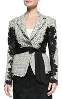 Donna Karan New York Grosgrain-belted Lace Jacket - Lyst