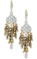 ABS By Allen Schwartz Goldtone Crystal and Bead Fringe Chandelier Earrings - Lyst