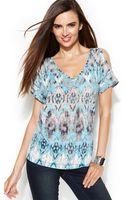 Inc International Concepts Petite Cold-shoulder Printed Top - Lyst