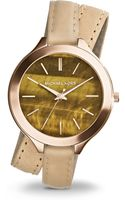 Michael Kors Rose Goldtonefinished Stainless Steel Tigers Eye Strap Watch - Lyst