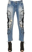 Amen Embroidered Boyfriend Cotton Denim Jeans - Lyst