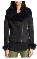 3.1 Phillip Lim Rabbit Fur-trimmed Suede Motorcycle Jacket - Lyst