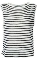 T By Alexander Wang Striped Sleeveless Boat Neck Top - Lyst