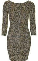 Topshop Glitter Animal Bodycon Dress - Lyst