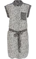 River Island Black and White Abstract Print Shirt Dress - Lyst