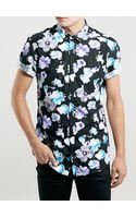Topman Black Floral Design Shirt - Lyst